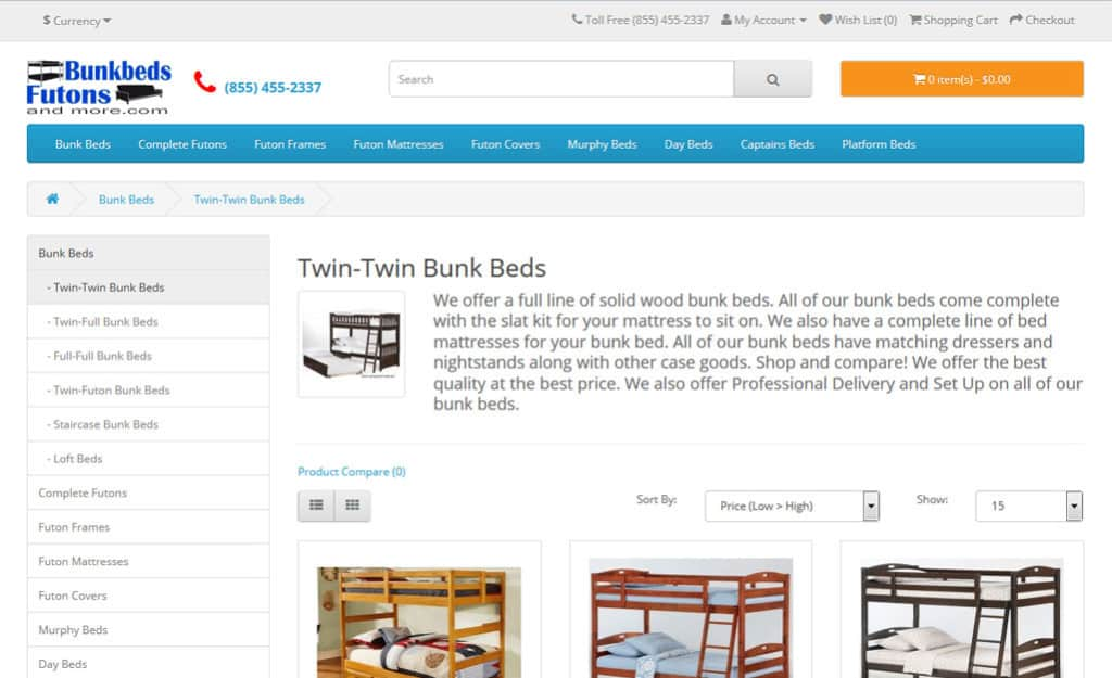 Opencart Web Design For Bunkbeds Futons and More: Category Page