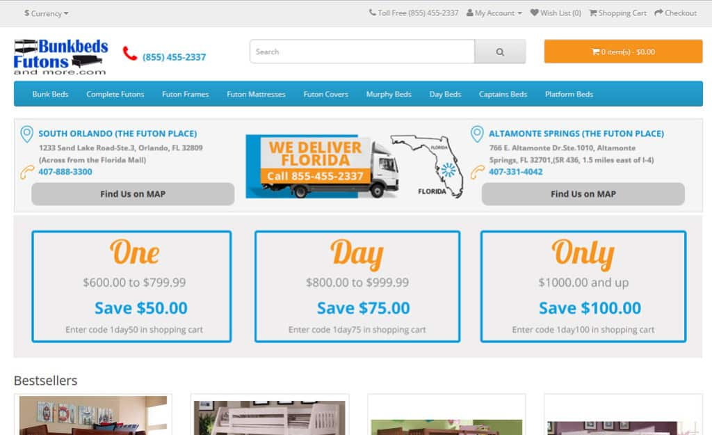 Opencart Web Design For Bunkbeds Futons and More: Home Page