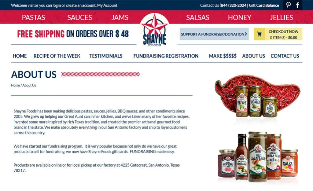 Shayne Foods Custom Ecommerce Site Design: ABOUT US