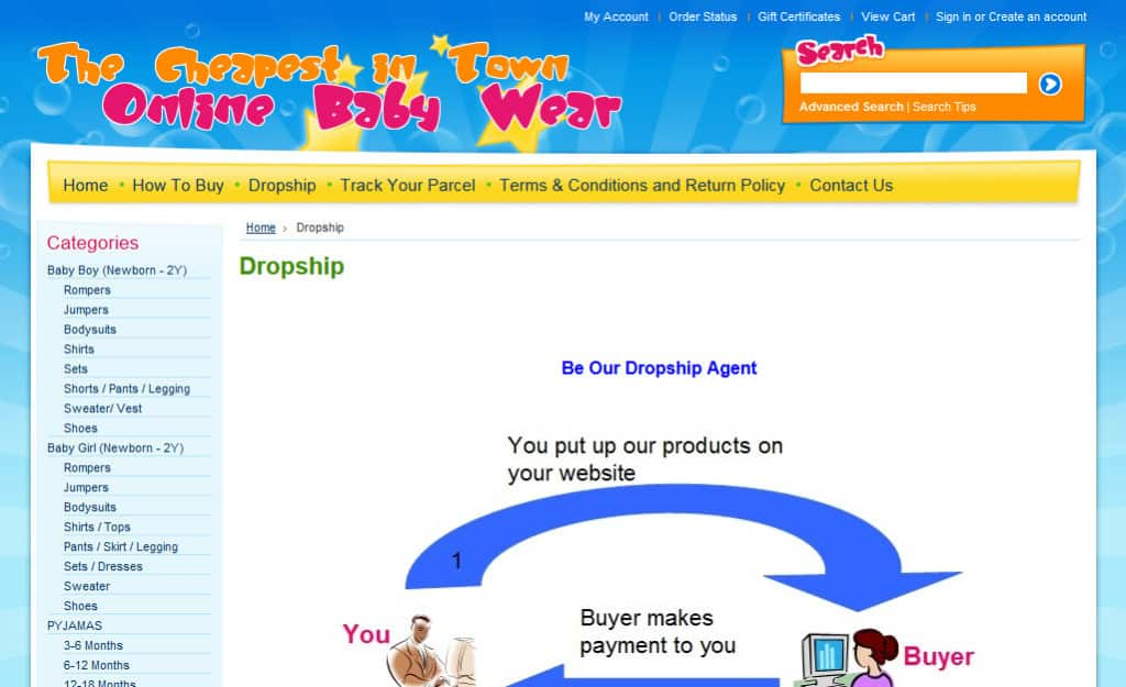 Online Baby Wear Ecommerce Site Design: Dropship Page