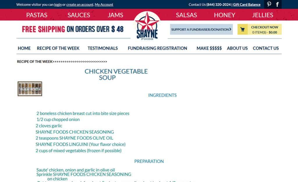 Shayne Foods Custom Ecommerce Site Design: RECIPE OF THE WEEK