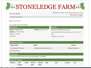 Custom Ecommerce Design for Community Supported Agriculture Sreenshot: My Account Page