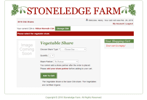 Custom Ecommerce Design for Community Supported Agriculture Sreenshot: Mandatory Share Purchase